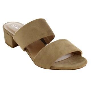 Nature Breeze FJ44 Women's Basic Block Heel Strap Slip On Slides Sandals
