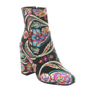 X2B FJ59 Women's Chunky High Heel Floral Embroidery Ankle Booties