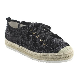 BONNIBEL FJ64 Women's Sparking Glitter Espadrilles Lace Up Sneakers