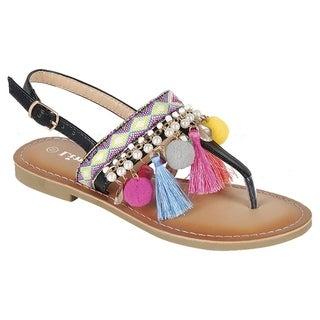 Forever IF85 Women's Bohemian Pom Pom Tassel Printed Flat Thong Sandal