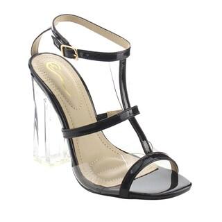 ELEGANT AF91 Women's Clear Lucite Heels T-strap Dress High Sandals