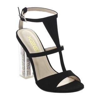 BONNIBEL FJ58 Women's Clear Chunky Heel Ankle Strap Dress Sandals