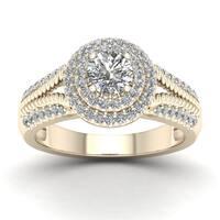 De Couer 3/4ct TDW Diamond Halo Engagement Ring - Yellow