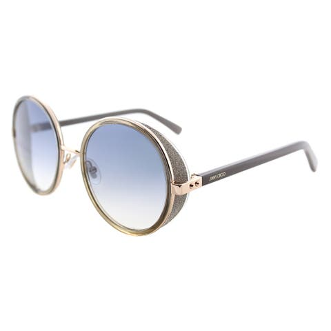 Jimmy Choo JC Andie S9R Gold Copper Metal Round Sunglasses Blue Gradient Lens