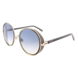Jimmy Choo JC Andie S9R Gold Copper Metal Round Sunglasses Blue Gradient Lens