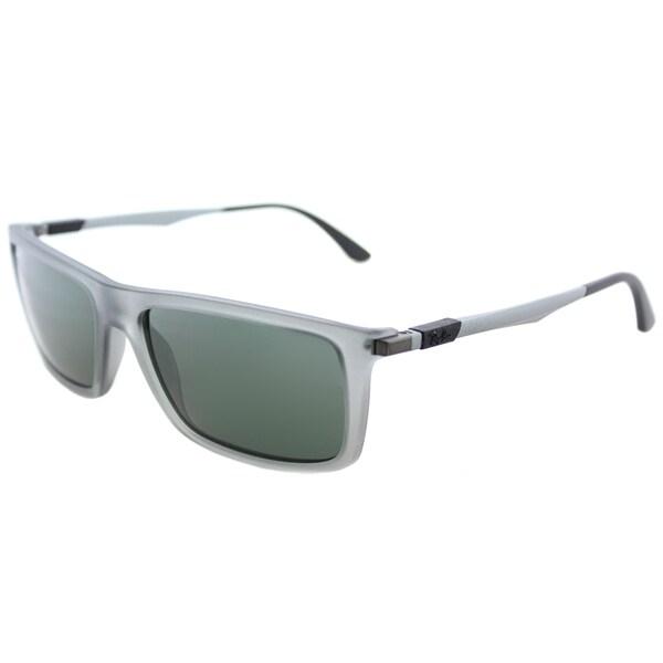fb1d7cc2a2 Ray-Ban RB 4214 629671 Matte Transparent Grey Plastic Rectangle Sunglasses  Green Lens