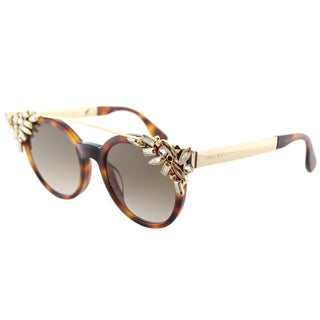Jimmy Choo JC Vivy BHZ Havana Plastic Round Sunglasses Brown Gradient Lens