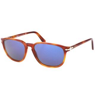 Persol PO 3019 96/56 Terra Di Siena Plastic Square Sunglasses Crystal Blue Lens