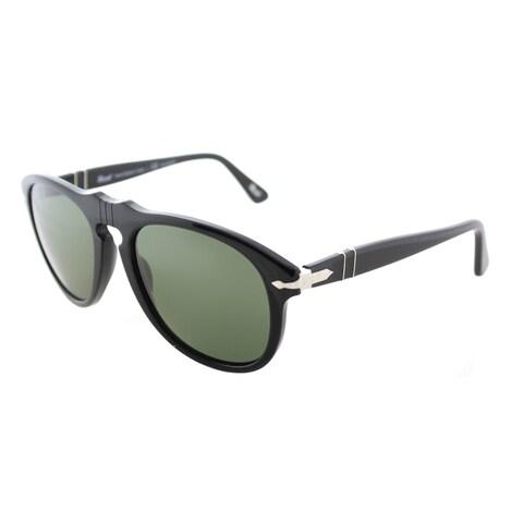 Persol PO 649 95/58 Superma Black Plastic Aviator Sunglasses Crystal Green Polarized Lens