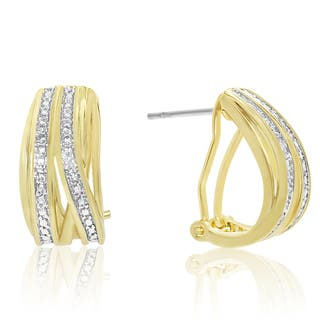 Elegant Diamond Half Hoop Earrings, Yellow Gold Over Brass, 3/4 Inch|https://ak1.ostkcdn.com/images/products/15957972/P22356444.jpg?impolicy=medium