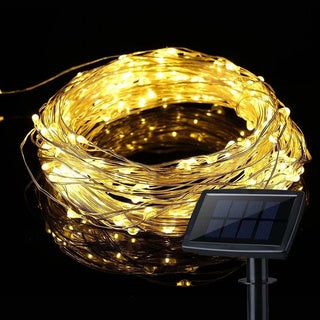 Two-Pack LED Solar Powered String Lights, 100LEDs,8 Modes, 33ft, Warm White