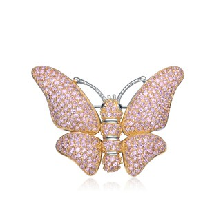 Collette Z Gold Overlay Pink Cubic Zirconia Butterfly Pin