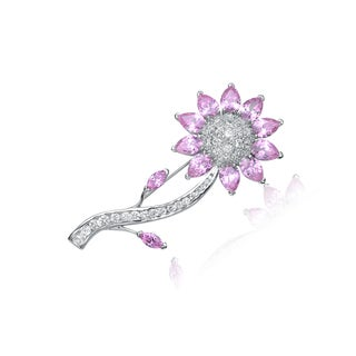 Link to Collette Z Sterling Silver Cubic Zirconia Sunflower Pin - Pink Similar Items in Fashion Jewelry Store
