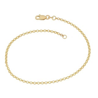 Fremada 14k Yellow Gold Delicate Rolo Chain Anklet (9 inches)