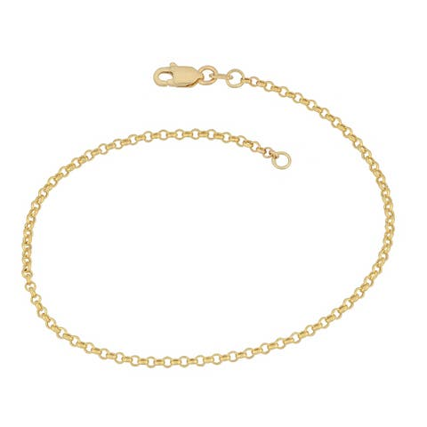 Fremada 14k Yellow Gold Delicate Rolo Chain Bracelet (7 inches)