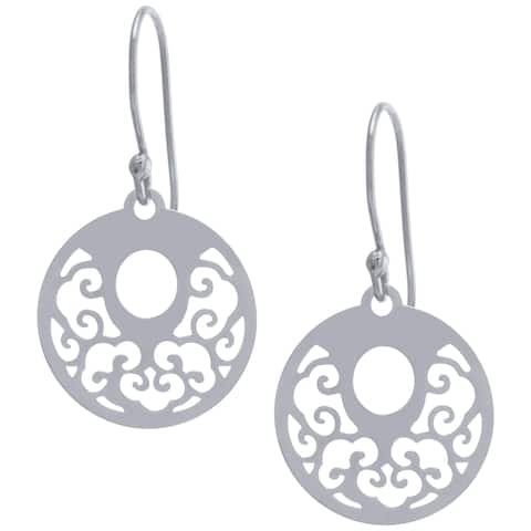 Sterling Silver Filigree Round Drop Earrings