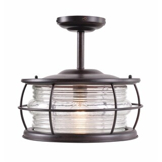 Ray 1-light Blackened Gilded Copper Convertible Semi-flush Mount