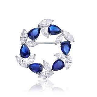Collette Z Sterling Silver Blue Cubic Zirconia Wreath Pin