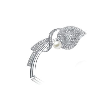 Collette Z Sterling Silver Cubic Zirconia Pearl Accent Pin - White