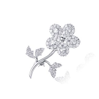 Link to Collette Z Sterling Silver Cubic Zirconia Single Flower Pin - White Similar Items in Fashion Jewelry Store