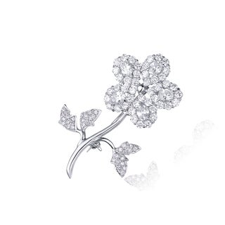 Collette Z Sterling Silver Cubic Zirconia Single Flower Pin
