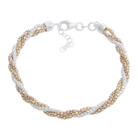 Athra Luxe Collection Tri-color Sterling Silver Twisted Bracelet
