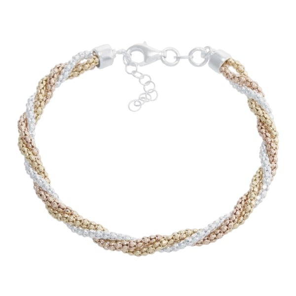Athra Luxe Collection Tri Color Sterling Silver Twisted Bracelet