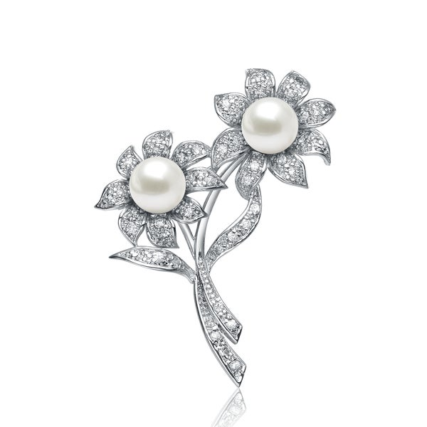 Collette Z Sterling Silver Cubic Zirconia Joined Flowers Pin - White