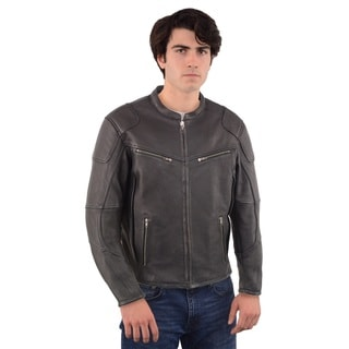 Men's Black Vented Scooter Jacket with Cool Tec Leather and Side Stretch