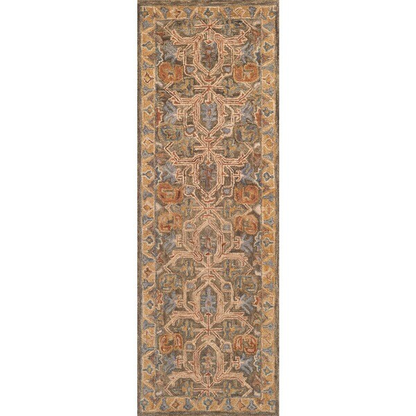 Hand-hooked Owen Walnut/ Multi Wool Runner Rug - 2'6 x 7'6