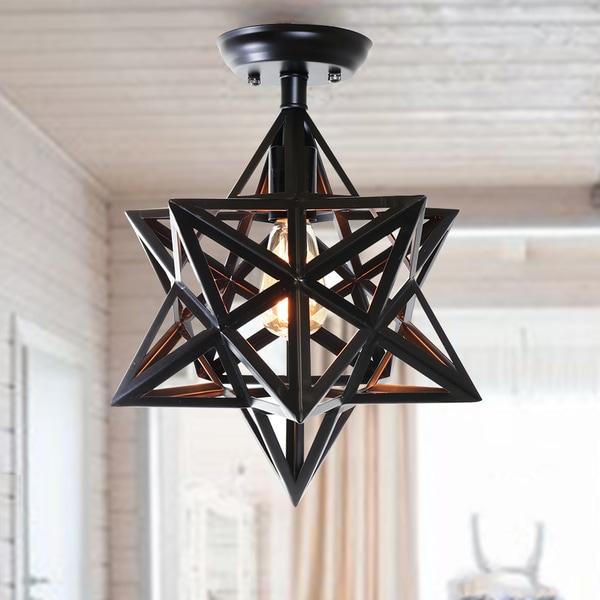 Warehouse of Tiffany Darkstar Antique Bronze 1-light Edison Geometric Ceiling Lamp with Bulb