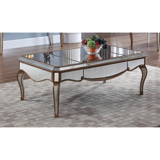 Best Master Furniture Mirrored Wood Coffee Table