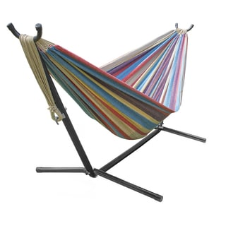 brazilian blue sand purple red stripes double hammock with stand byer ceara rockstone steel hammock stand   free shipping today      rh   overstock