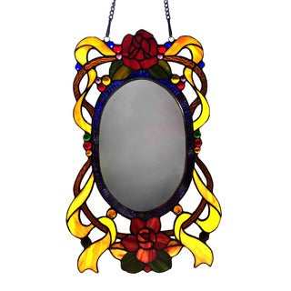 Chloe Lore Collection Floral Design Window Panel Mirror - Multi