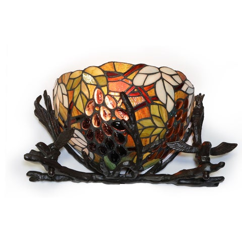 Sabine Basket and Birds Tiffany Glass Metal Wall Sconce