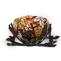 Sabine Basket and Birds Tiffany Glass Metal Wall Sconce