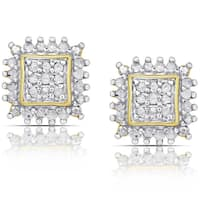 Finesque Sterling Silver or Gold over Silver 1/2ct TDW Diamond Square Stud Earrings