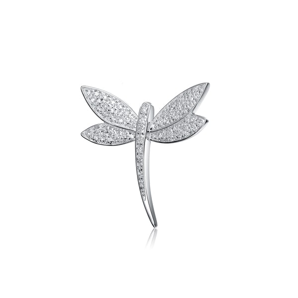 Collette Z Sterling Silver Cubic Zirconia Slim Dragonfly Pin - White