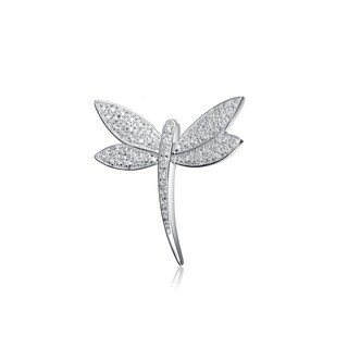 Collette Z Sterling Silver Cubic Zirconia Slim Dragonfly Pin