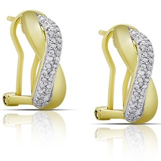 Finesque Sterling Silver or Gold over Silver 1/2ct TDW Diamond 'X' Design Half Hoop Earrings