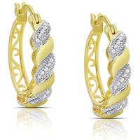 Finesque Sterling Silver or Gold over Silver 1/4ct TDW Diamond Swirl Hoop Earrings (I-J, I2-I3)