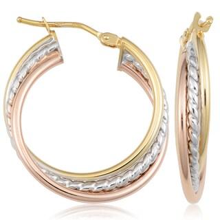 "Fremada Italy 10k Tricolor Gold Triple Hoop Earrings, 1"""