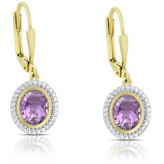 Dolce Giavonna Gold over Sterling Silver Oval Amethyst Dangle Earrings