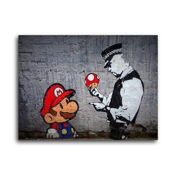 Banksy  Mario Caught Speeding  Brushed Aluminum Wall Art  sc 1 st  Overstock.com & Banksy