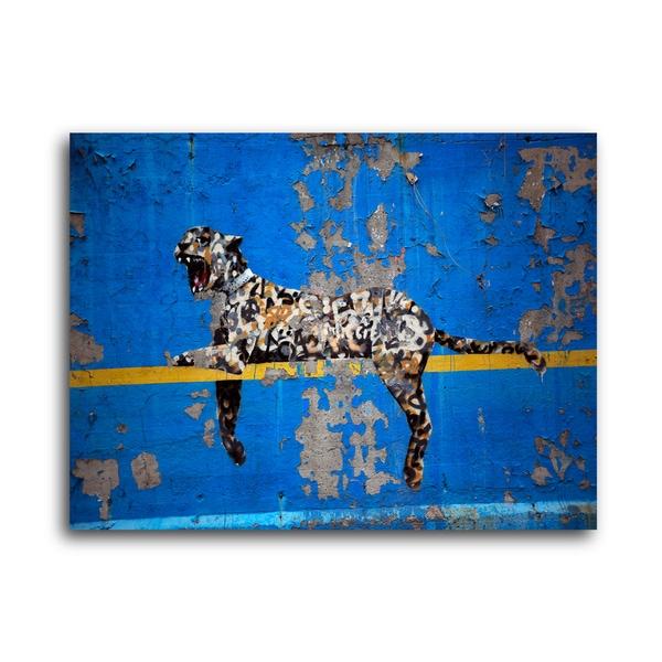 "Banksy ""Yankee Leopard"" Brushed Aluminum Wall Art"