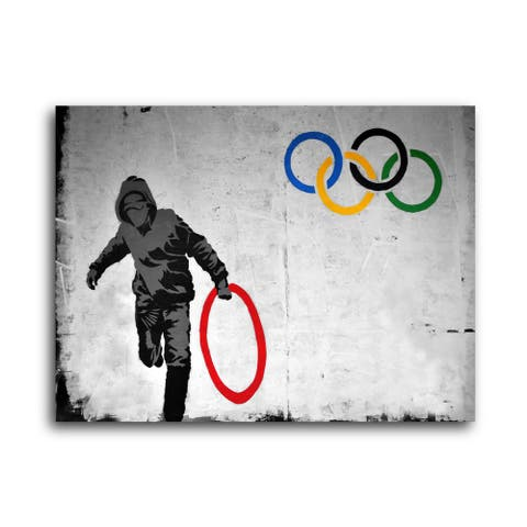 """Banksy """"Olympic Ring Stolen"""" Brushed Aluminum Wall Art"""