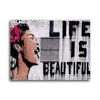"""Banksy """"Life is Beautiful"""" Brushed Aluminum Wall Art"""