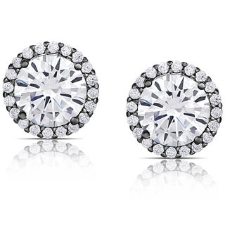 Dolce Giavonna Black Overlay Cubic Zirconia Round Halo Stud Earrings