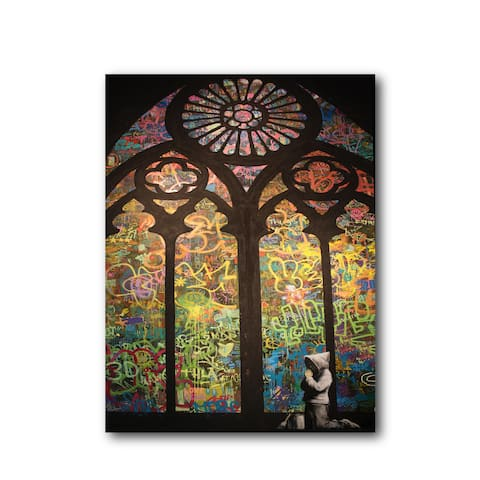 """Banksy """"Stained Glass Cathedral Window"""" Brushed Aluminum Wall Art"""