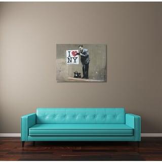 """Banksy """"I Love NY"""" Brushed Aluminum Wall Art"""